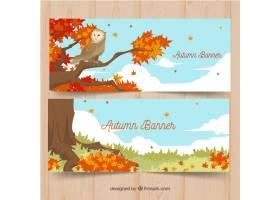 与风景和猫头鹰的秋季横幅_1262444