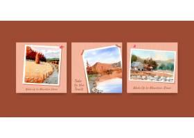 与风景的广告模板在秋天设计为instagram帖_9356006