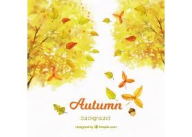 与黄色树的水彩秋天背景_2708559