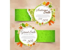 两个绿色水平的孤立的秋天横幅设置与销售和_13381526