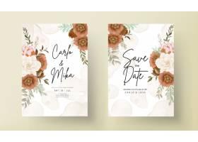 典雅的秋天花卉婚礼邀请卡与玫瑰和松花_17553858