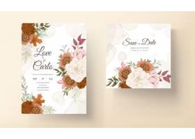 典雅的秋天花卉婚礼邀请卡与玫瑰和松花_17553866