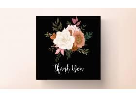 典雅的秋天花卉婚礼邀请卡与玫瑰和松花_17553872