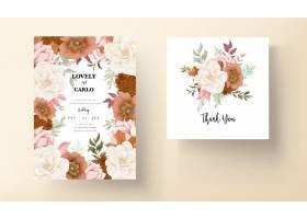 典雅的秋天花卉婚礼邀请卡与玫瑰和松花_17553908