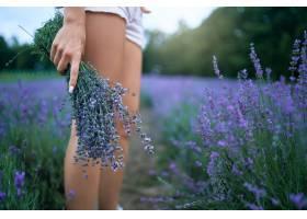 拿着淡紫色花束的妇女_14276555