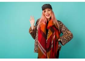 令人惊叹的妇女画象有桃红色头发的在时髦的_9407036