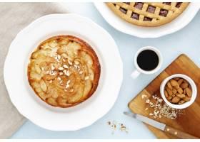 顶视图美味的饼早晨膳食_9905791