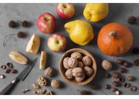顶视图水果和坚果安排_10067909