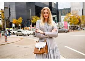 街道时髦的白肤金发的妇女佩带的魅力灰色成_15275883