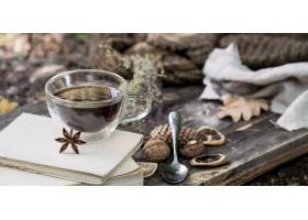美丽的透明茶与秋叶和干柠檬的在自然背景的_10107643