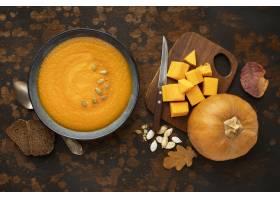 秋天食物汤南瓜和叶子_9905993