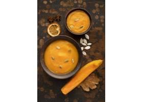 秋天食物汤和切片南瓜_9905971