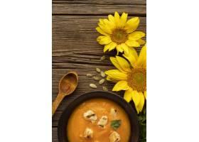 秋天食物汤和花_9905961