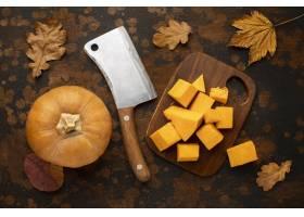 秋天食物用砍刀刀和南瓜_9905982