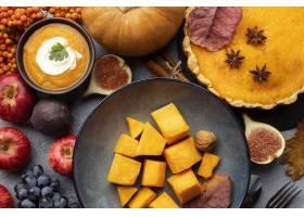 秋天食物的顶视图安排_9905525