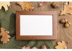 框架顶视图与秋天叶子和橡子的_9467527