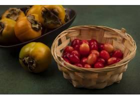 橙色色的柿子顶视图在一个碗的果子用在一个_13803868