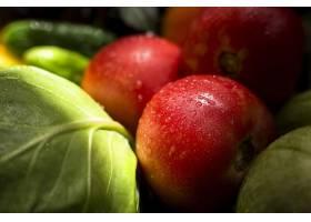 新鲜的秋季蔬菜和果子的特写镜头分类_9851345