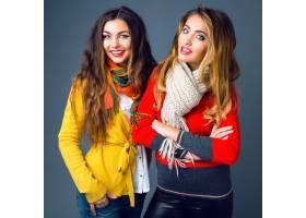 时尚冬天的金发女郎和黑发美丽最好的朋友女_9855815