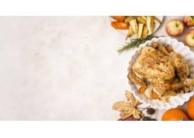 感恩烤鸡顶视图在板材的有拷贝空间的_9700216