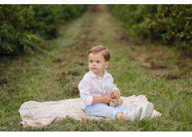 小男孩坐野餐格子花呢披肩在村庄庭院里_9409273
