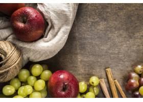 平的秋天葡萄和苹果与串_10298191