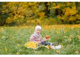 妈妈和儿子在秋天公园一起走和乐趣_11029951