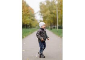 妈妈和儿子在秋天公园一起走和乐趣_11030017