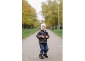 妈妈和儿子在秋天公园一起走和乐趣_11030019