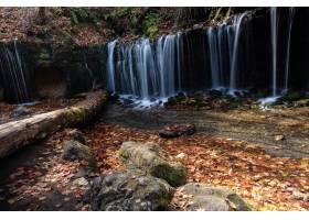 高角度射击了一个瀑布在一个森林里在卡鲁佐_10944784