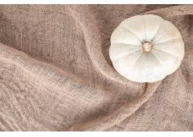 白色南瓜顶视图在粗麻布的_11367614