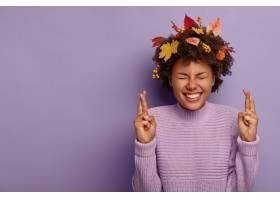 梦幻充满希望的非洲裔美国女孩相信胜利祈_12700082
