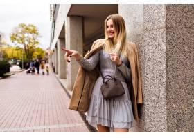 时尚街风格的金发女郎优雅的女人穿着奢华_9855866