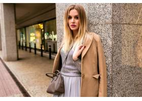 时尚街风格的金发女郎优雅的女人穿着奢华_9855871