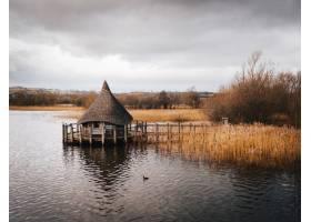 射击了在湖围拢的湖构建的木屋子被棕色河藤_12750446