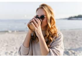 休息在沿海的典雅的太阳镜的俏丽的妇女梦_12153690