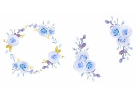 水彩蓝色玫瑰花花圈_17447530
