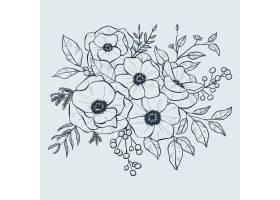 现实的手绘花花束_6445940