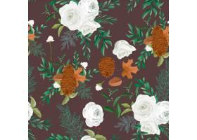 甜秋天花卉无缝的样式设计与玫瑰色和杉木花_17562533