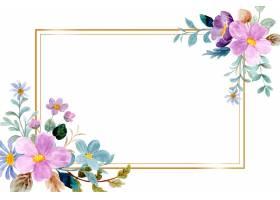 紫色绿色水彩花卉框架_14680043