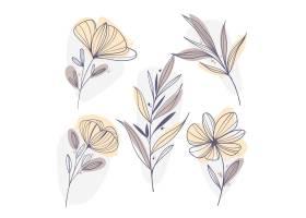 线性叶子和花的平面设计_17749263