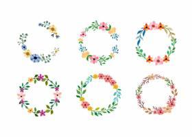 套在白色的六个水彩花框架_13663497
