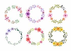 套在白色的六个水彩花框架_13663499