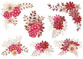 套在白色隔绝的红色水彩花卉元素_11168181