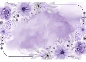 与花紫色软的水彩花卉框架背景_13614976