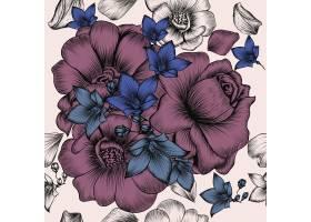与被刻记的手拉的花的花卉墙纸样式在葡萄酒_4982492