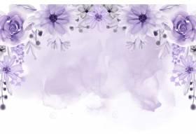 与软的紫色花水彩的美丽的花卉框架背景_13614974