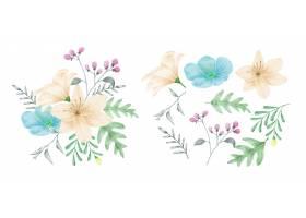 一套鲜花涂有水彩画_13744772