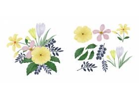 一套鲜花涂有水彩画_13744782