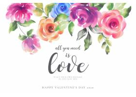 与五颜六色的花的浪漫情人节背景_65555